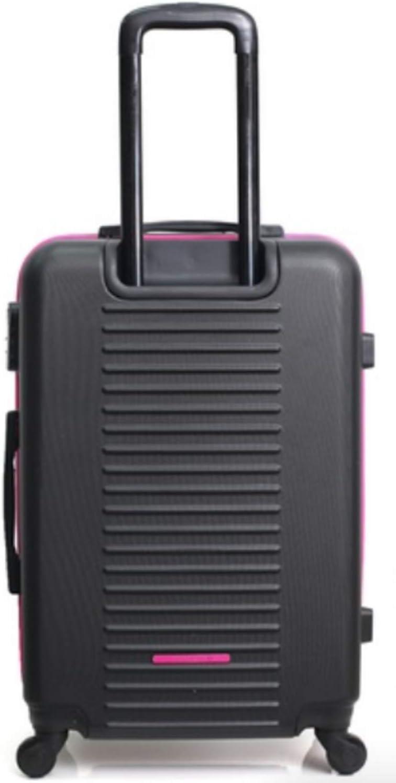 Lulu Castagnette pl/ástico ABS, robustas, ligeras, con 4 ruedas, con cerradura integrada 55 cm, maleta, 66 cm + 75 cm Negro Negro small Juego de 3 maletas de viaje