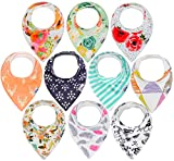 10-Pack Baby Bandana Drool Bibs for Drooling and Teething, 100% Organic Cotton, Soft and...