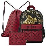 HARRY POTTER Mochilas Escolares, Set con Mochila Escolar, Mochila Cuerdas y Estuche Escolar de Hogwarts