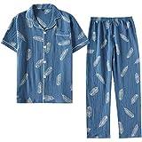 ZHANG Pijamas para Hombre, Traje de Pantalón de Manga Corta de Algodón para Hombres Pijamas de Crepé de Red de Gasa de Algodón para Hombres Ropa de Hogar Suelta de Gran Tamaño para Hombres Suave,A