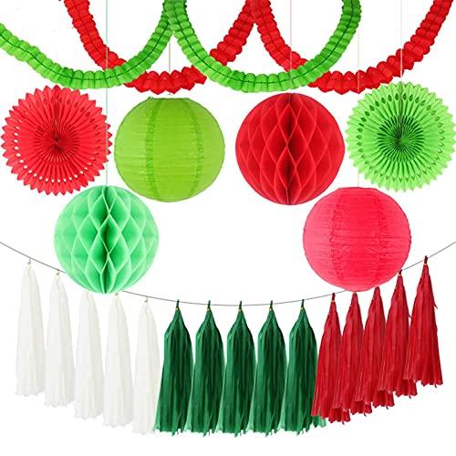 AFANGMQ 1Escon 23 unids MEDICIDO DIY Papel de Tejido Borla/Guirnalda/Linterna/fanáticos/Pelotas de Panal Party Decorations Decoraciones de Boda Niños Unicornio Cumpleaños (Color : Green Red)
