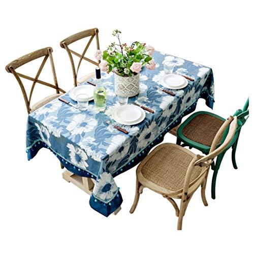 DHMHJH-nappes Nappe de Table Basse, Coton européen Bleu et Lin Petite Nappe rectangulaire personnalisée personnalisée, Convenant à de Nombreuses Occasions, Multi-Taille en Option