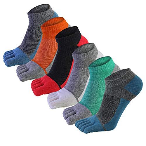 AIEOE 6 Paar Männer Fünf Finger Zehensocken Baumwolle Sneaker Socken Kurz Atmungsaktiv Sportsocken Laufsocken
