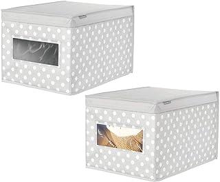 mDesign grande boîte de rangement en tissu (lot de 2) – panier de rangement empilable pour vêtements de bébé ou couverture...