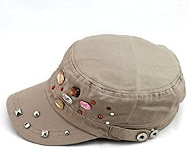 2019 Women New Elegant Baseball caps Funny Flat top hat Summer Bead Cap for Women Fashion Design Girl Casual Beauty Foldable Cap (Color : Gray, Size : 59cm)
