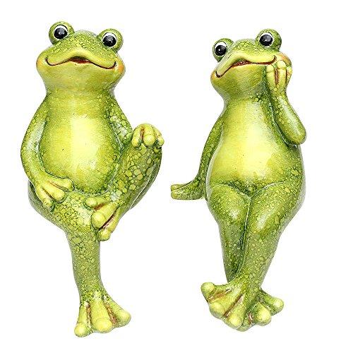 SIGRO Gold Keramik Frosch Kantenhocker grün 2-Fach sort. 10 x 12 x 22 cm im Set