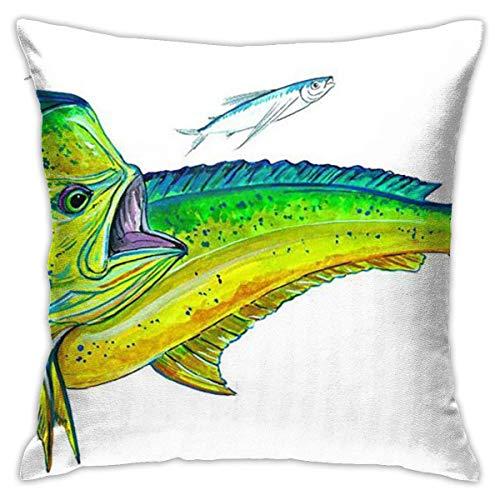 Traveler Shop Funda de Almohada Mahi-Mahi Fish Fundas de Almohada estándar Fundas de cojín de poliéster respetuosas con la Piel para el Cabello y la Piel, 18 x 18 Pulgadas