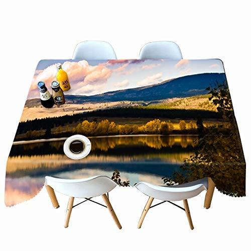XXDD Rectángulo de Mantel con patrón de Paisaje de Lago 3D para Mesa de Comedor de Cocina Mantel Impermeable y a Prueba de Polvo A4 140x140cm