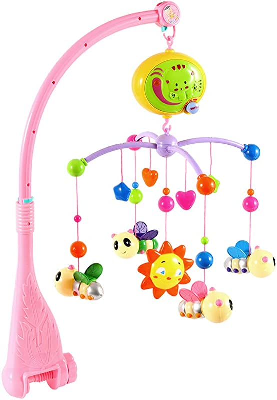 Littlegrass Baby Musical Crib Mobile With Hanging Rotating Toys And Music Box For Babies Boy Girl Toddler Sleep Pink