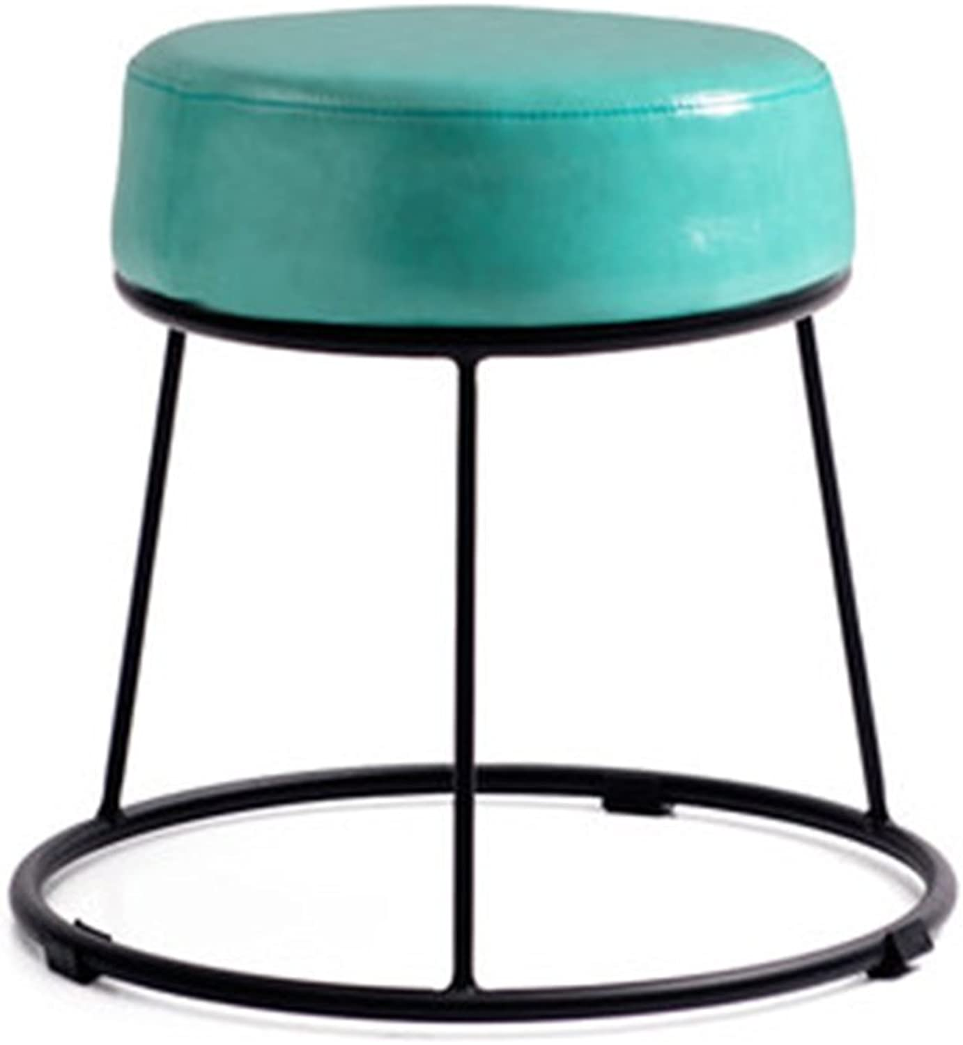 Simple wrought iron stool Home bar chair coffee chair Retro bar chair small round stool ( color   bluee , Size   38.536.5cm )
