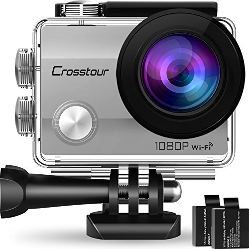 """Crosstour Action Camera Underwater Cam WiFi 1080P Full HD 12MP Waterproof 30m 2"""" LCD 170 Degree Wide-Angle Sports Camera with 2 Rechargeable 1050mAh Batteries and Mounting Accessory Kits (Silver)"""