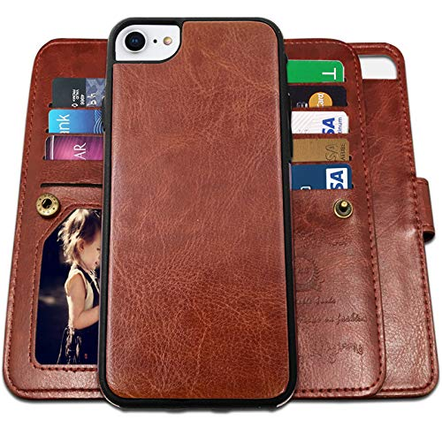 CASEOWL iPhone 8 Case, iPhone 7/ SE 2nd Wallet Cases with Magnetic Detachable Slim Case with 9 Card Slots,Kickstand,Strap for iPhone 7/8/SE 2nd, 2 in 1 Folio Flip Premium Leather TPU Case(Brown)