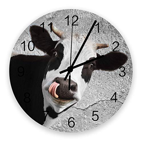 LooPoP Retro 12 Inch Waterproof Wall Clock, Silent Non-Ticking Battery Operated for Home Classroom Conference Room Wall Decorative Clock - Cow Vintage Wall Style
