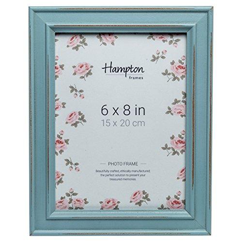 Marco de fotos, diseño desgastado, PALOMA de Hampton Frames, madera, azul claro, 6x8 (15x20cm)