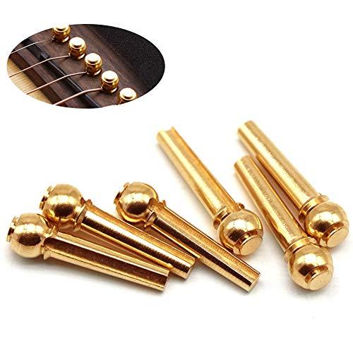 GEZICHTA 6Brücke Pins, Akustische Gitarre Ersatzteile, Kupfer Akustische Gitarre Saiten Feste Membran String Nägel String Knöpfen für Akustische Gitarre