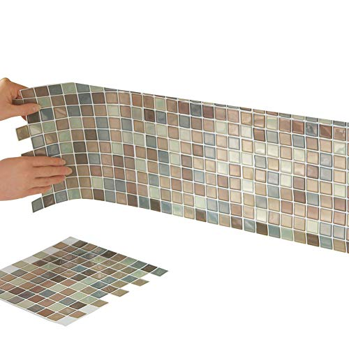 Collections Etc Multi-Colored Adhesive Mosaic Backsplash Tiles