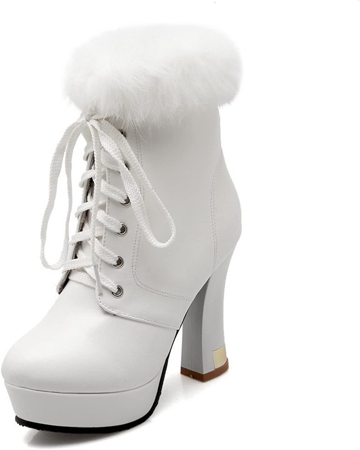 A&N Womens Lace-Up Fur Collar Platform Imitated Leather Boots