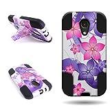 Motorola Moto G (2nd Generation) Case, CoverON Hybrid Armor Kickstand Case Cover for Motorola Moto G (2nd Generation 2014) - Pink + Purple Flowers