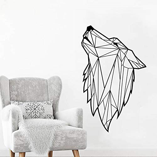guijiumai Alta qualità Moderna Geometrica Lupo animale Decalcomanie Della parete del vinile per Bambini Ragazzi Camera da letto soggiorno adesivi murali autoadesivi Rosso 42x69 cm