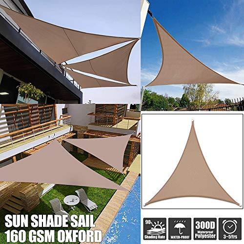 Lxf-xg La Cortina de Sun de Vela al Aire Libre del Partido de jardín del Patio de protección Solar Toldo Toldo 98% UV Bloque Triángulo de Arena con la Cuerda Gratuito,Caqui,5 * 5 * 5m