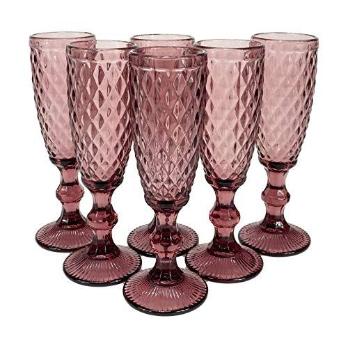 Homevibes Juego de 6 copas de Champan, 6x20, diseño retro, cristal de calidad, muy resistentes
