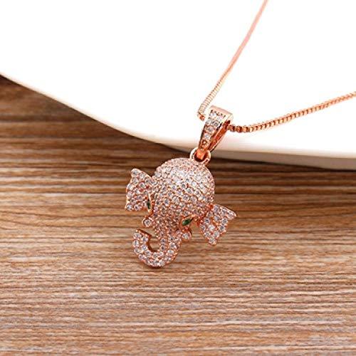 AQING Lindo Collar de Elefante de Cobre Dorado circón Dorado joyería de Animales de la Suerte Mejor Fiesta cumpleaños Oro Rosa