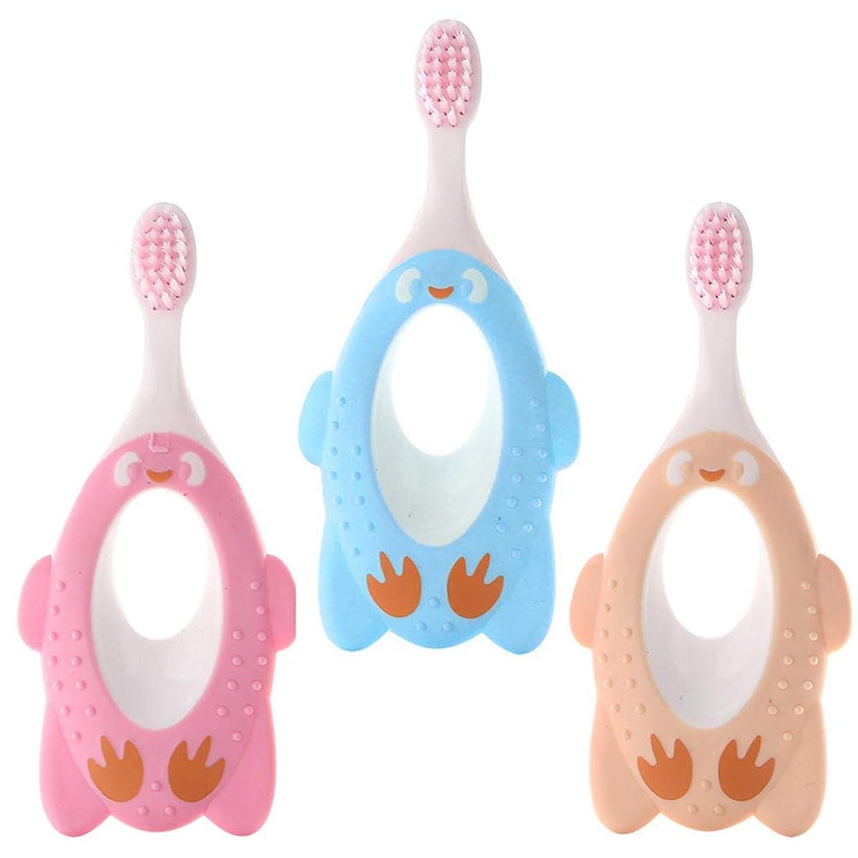 赤ん坊、幼児および子供のための3つのかわいい赤ん坊の歯ブラシセットやわらかデンタルトレーニング歯ブラシオーラルケアセット17×9.5cm(ブルーピンクイエロー)