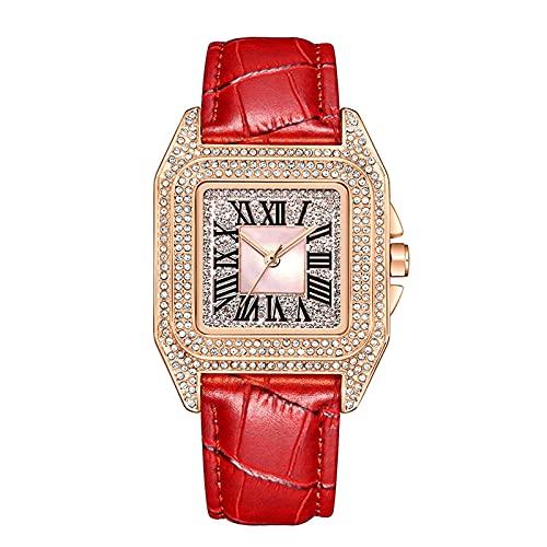 TREWQ Reloj AnalóGico para Mujer De Cuarzo con Correa En Cuero, Reloj De Cuarzo Cuadrado De Moda Retro con Diamantes Completos, Reloj Pulsera Regalo San ValentíN DíA De La Madre,Rose Gold Red