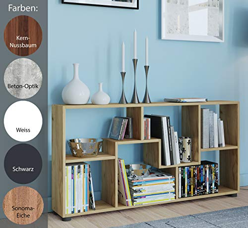 VCM Regal Kommode Bücherregal Sideboard Holz Raumteiler Pintal Weiß