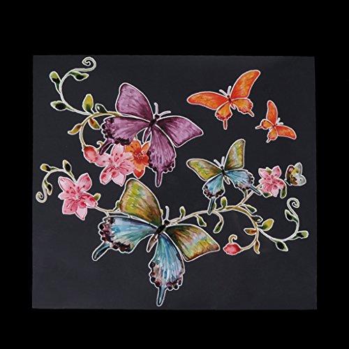 ZJL220 Ropa Niños Pegatinas de transferencia de calor Flores Mariposas Parches de Hierro Apliques