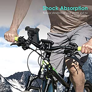 Soporte Movil Bicicleta, Autkors Soporte Motocicleta con 360° Rotación Manillar, Anti Vibración Soporte Movil Bici Universal para Phone 12/12 Pro/12 Mini/11 (4.7-7.0 Pulgadas)