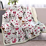 BlessLiving Red Hearts Dog Cat Print Plush Blanket Cute Puppy for Kids Adults 3D Animal Print Plush Blanket Gift for Pet Lovers (Jack Russell Terrier,Throw, 50 x 60 Inches)