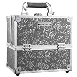 Frenessa Professional Makeup Train Case 10 Inch Aluminum 4-Tier Trays Cosmetic Box Jewelry Storage Organizer with Lockable Portable Travel Makeup Storage Box for Women and Girls Silver Floral