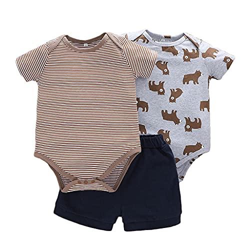 Pack de 3 Bebé Niños Niñas Conjunto de Ropa Body Mono + Pantalones Cortos Mameluco Algodón Manga Corta Peleles Regalo de Recien Nacido