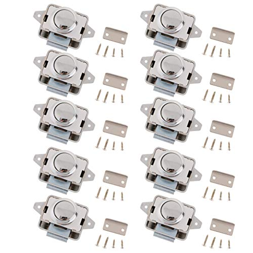 FLAMEER 10x Metall Push Button Verriegelung, Drehknopf Schloß für Wohnmobil