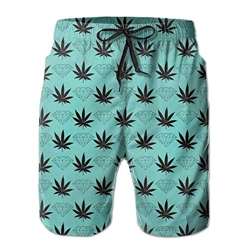 zengdou Maillot de Bain Homme Mens Quick Dry Beach Shorts Black Weed Diamond Pattern Floral Boardshorts Swim Surf Trunks Comfortable Breathable