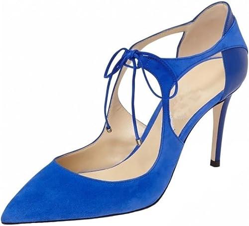 SYYAN Femmes Rétro Suède Suède Suède Pointu Les bretelles Ajouré Pompe Robe Chaussure , bleu , 39 3b1