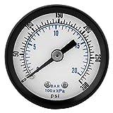 Medidor de presión, BSPT de 1/8'Medidor de presión mini para combustible Aire Aceite Líquido Agua 0-20 bar/0-300 psi Rosca BSPT de 1/8 pulg, Medidor de presión, dial de 4,2 cm de