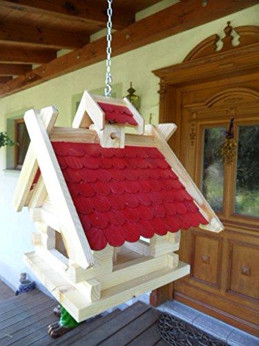 Arbrikadrex Futtersilo Futterhaus Schreinerware Holz Vogelfutter Vogelhaus Vogelvilla Vogel Blockhaus Futterspeicher XL Rot oder Schwarz (XL, Rot) auch zum aufhängen Balkon