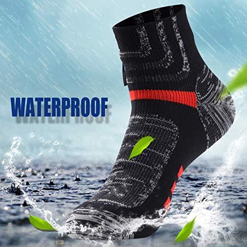 DYTJ Knöchel Wasserdichte Sportsocken Atmungsaktiv Winddicht Sgs Zertifiziert Outdoor Wandern Klettern Angeln Radfahren Socken 1 Paar, Rot, M