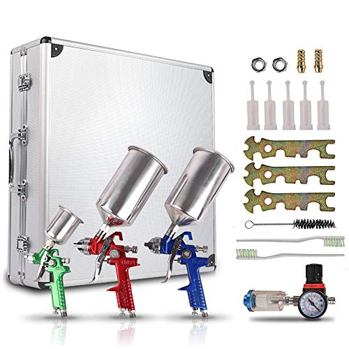 etosha HVLP Spray Gun Set 3pcs, Auto Paint Primer with Air Regulator & Maintenance Kit, Paint Sprayer with Cups for Various Painting Projects(1.0mm, 1.4mm&1.8mm Needle Nozzle Set)
