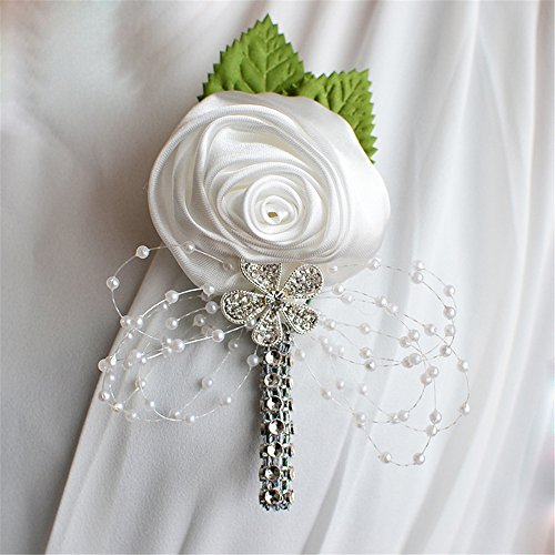 USIX 2pc Pack-Handmade Men's Lapel Satin Flower Pearl Decor Boutonniere Pin for Suit Wedding Groom Groomsmen Brooch Rose Boutonniere (White)