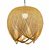 Lámpara colgante de bambú de tejido creativo, lámpara de techo de bambú, lámpara de techo, lámpara de techo para comedor, restaurante, dormitorio, cafetería, bar