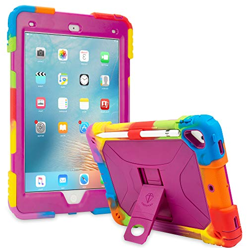 ACEGUARDER New iPad 9.7 Case 2018 (6th Gen)/2017 (5th Gen), iPad Air 2 Kids Case Rainbow Series,Shockproof Heavy Duty Silicone Protective Cover with Kickstand (Rainbow Purple)
