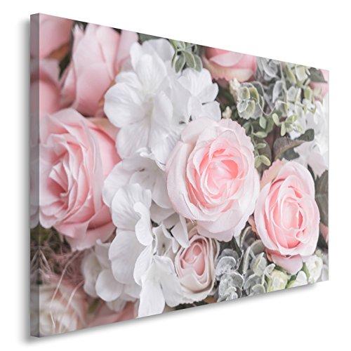 Feeby. Rosen Bild auf Leinwand Größe: 80x120 cm, 1 Teilig Leinwanbild Wandbild Kunstdrucke Wanddeko Blumen WEIß PINK
