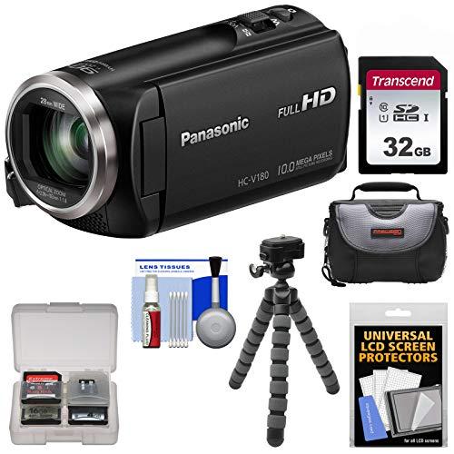 Panasonic HC-V180 HD Video Camera Camcorder with 32GB Card + Case + Flex Tripod + Kit