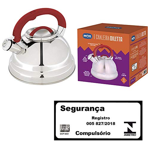 Chaleira Aço Inox Fundo Triplo Dileta, Mor, Vermelho, 3L