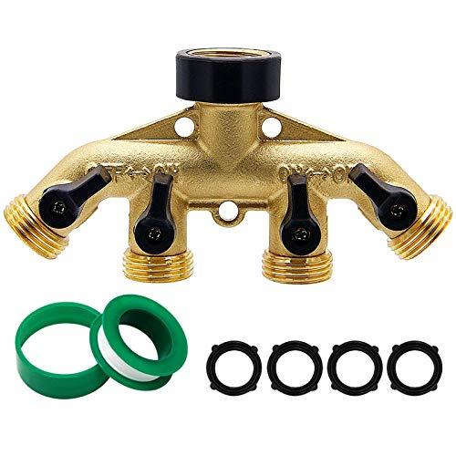 Biswing 4 Way Brass Hose Splitter, 3/4' Brass Hose Faucet Manifold, Garden Hose Adapter Connector, Hose Spigot Adapter with 4 Valves