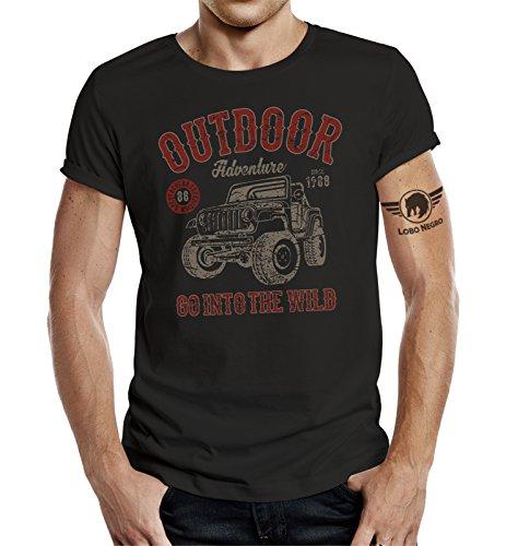 LOBO NEGRO - Camiseta de manga corta para hombre