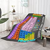 Anuruddha Periodic Table of Elements Blanket Perfect for Bed and Couch Suitable for Sofa or Beds Fluffy Warm Cozy Microfiber Flannel Lightweight Small (50'x40')